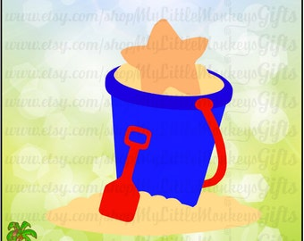 Beach Sand Bucket Pail With Starfish Design Digital Clipart Instant Download Full Color Jpeg Png SVG DXF EPS Files