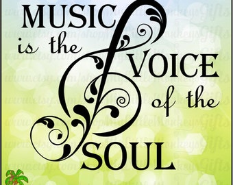 Treble Clef SVG ~ Flourished Treble Clef ~ Music is the Voice of the Soul ~ Music SVG ~ Commercial Use SVG ~ Clip Art ~ Cut File eps dxf