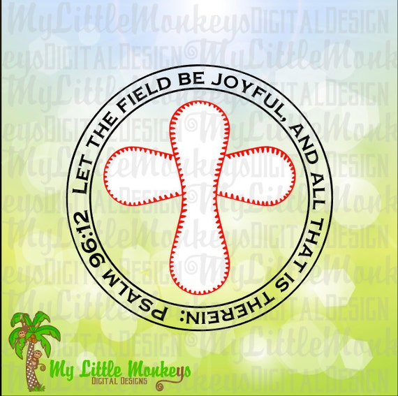 Baseball Cross Psalm 96 12 Let The Field Be Joyful And All Etsy