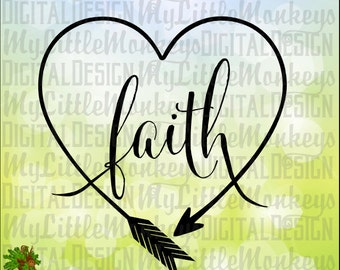 Faith Heart Shaped Arrow One Layer Welded Design Clip Art & Cut File 300 dpi Jpeg Png SVG EPS DXF Instant Download