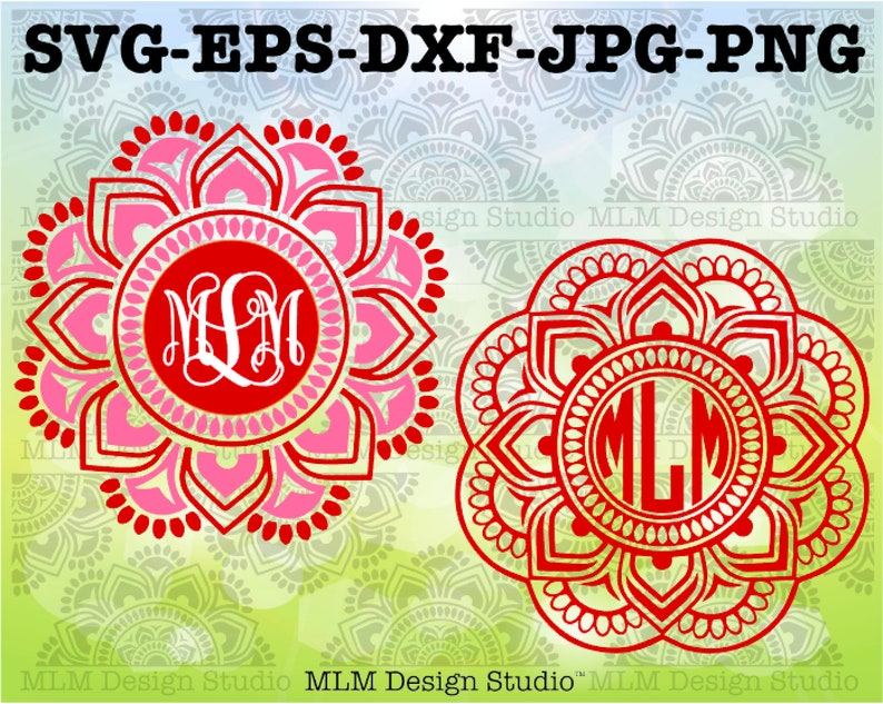 Mandala Monogram Base Design with 2 Color and 3 Color Options image 0