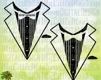 Tuxedo SVG, Tuxedo T-Shirt, Ring Bearer Design clipart and Cut File Instant Download High Quality 300 dpi jpeg png svg eps dxf Formats