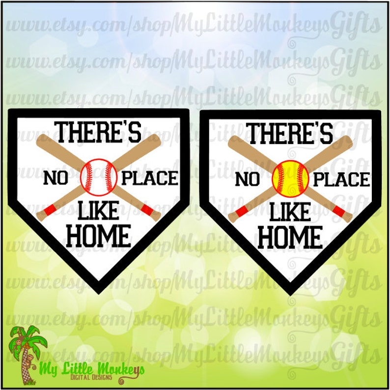 EPS /& DXF formats Softball Baseball Design There/'s No Place Like Home Digital Clipart Cut File Instant Download Full Color Jpeg Png SVG