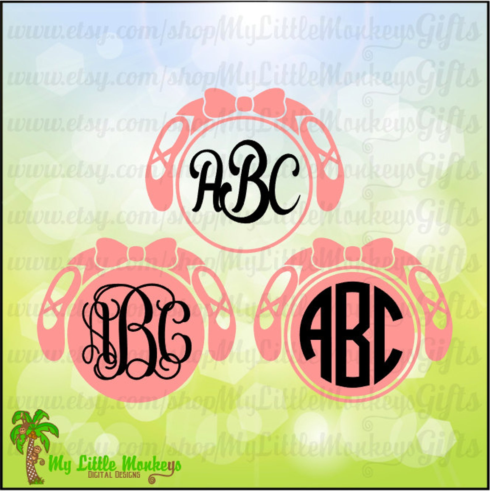 ballet svg ~ ballet slippers svg ~ ballet shoes svg ~ monogram svg ~ recital gift ~ commercial use svg ~ cut file ~ clipart svg-