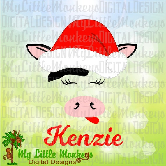Cow Face With Santa Hat Svg Cow Face Svg Christmas Cow Svg Etsy