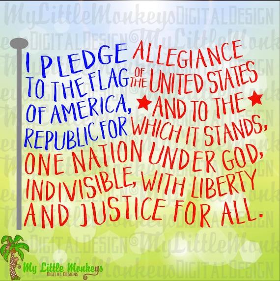 Pledge Of Allegiance Flag Shape Word Art 4th Of July Design Etsy