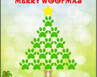 Merry Woofmas Paw Print Christmas Tree Digital Clipart Cut File Instant Download Full Color 300 dpi Jpeg, Png, SVG, EPS, DXF Files