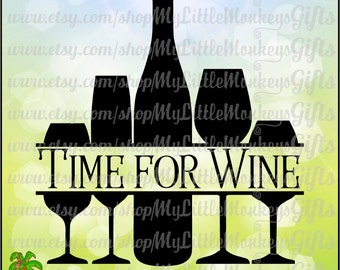 time for wine split wine bottle wine glass design digital clipart cut file printable instant download