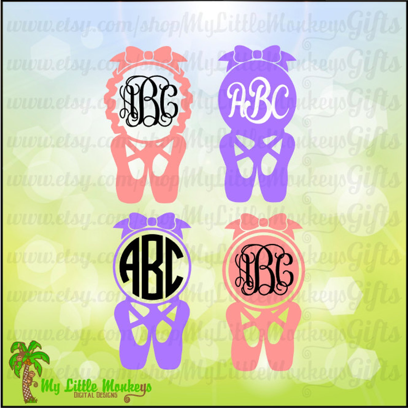 ballet svg ~ ballet shoes ~ monogram svg ~ ballet slippers ~ ballet monogram ~ dance ~ commercial use svg ~ clip art ~ cut file