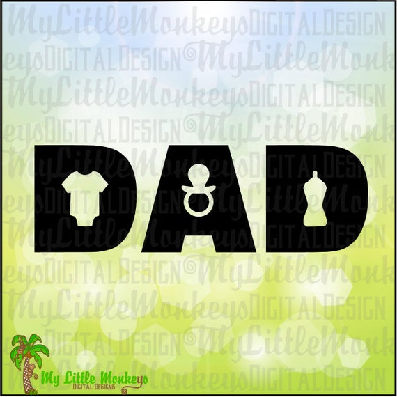 Dad Baby Icons Father S Day Title Design Digital Clipart Etsy