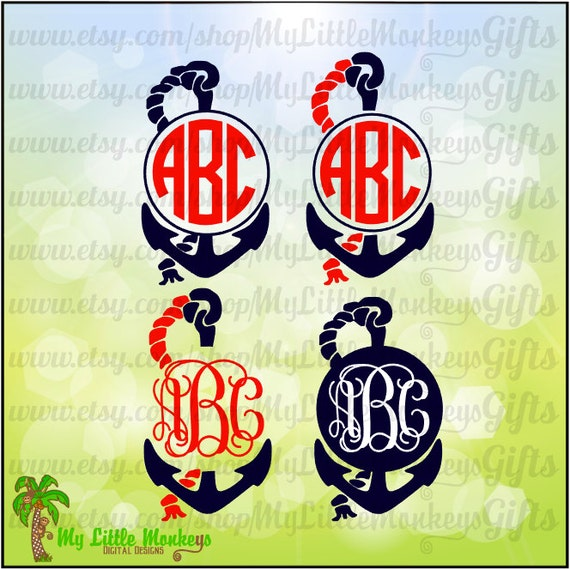 Monogram Anchor With Rope Frame Monogram Base Designs Digital Etsy