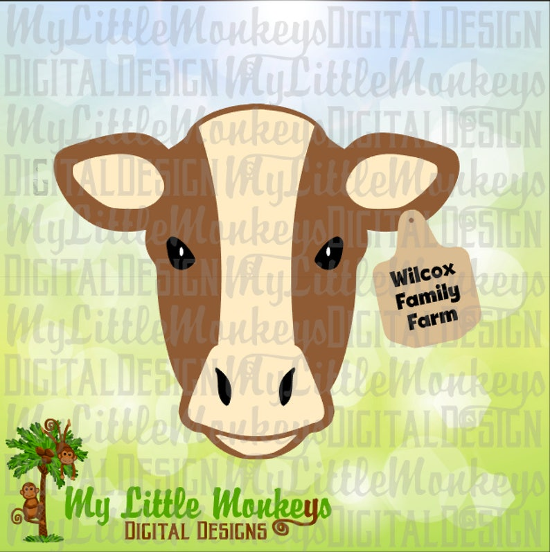 Calf With Ear Tag Farm Animal Design Commercial Use Svg Etsy