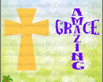 Amazing Grace Cross Digital Design to Print or Cut 300 dpi Jpeg Png SVG EPS DXF Formats Instant Download
