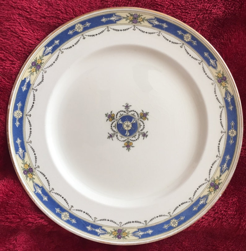 Vintage 1924 Dinner Plate ROYAL WORCHESTER /'DEAUVILLE/' Crown Ware  Made in England