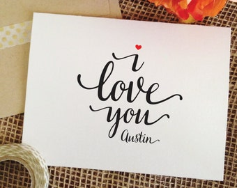 Valentines Day card valentines card i love you card personalized gift for boyfriend anniversary card