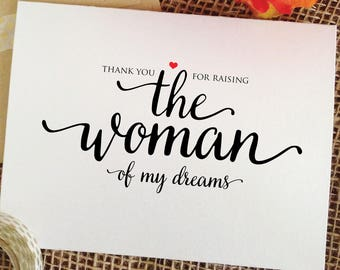 thank you for raising THE WOMAN of my dreams parents of the bride gift from groom mother of the bride gift from groom in law mother father