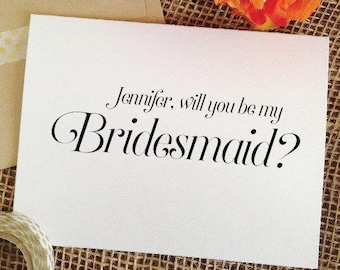 Will you be my bridesmaid Card, maid of honor card, Matron of honor, flower card (Sophisticated)