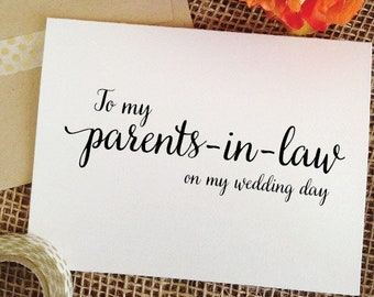 To my Parents-in-law on my wedding day Card for parents in laws gift wedding gifts for Parents of the Groom Gift parents in law wedding card