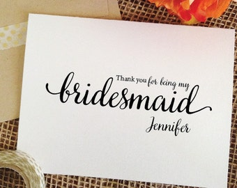 Bridesmaid thank you gift THANK YOU for being my bridesmaid card, Bridal Party Gift, thank you Bridesmaid Gift, Maid of honor Gift (wa8th)