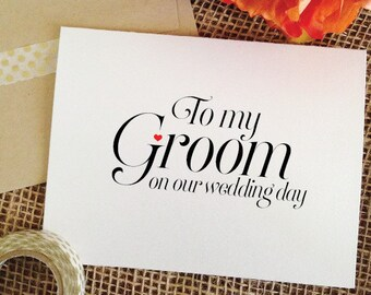 To my Groom on our Wedding Day Cards Groom card to my groom card for Groom wedding gift for groom gift from bride to groom gift wedding card