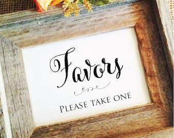 Wedding Favor Sign Favors please take one sign, favor sign for wedding, rustic Wedding Signage Rustic Wedding Signs (Frame NOT included)