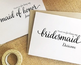 Bridesmaid thank you card thank you for being my bridesmaid gift personalized maid of honor gift bridal party bridesmaid card WBP8