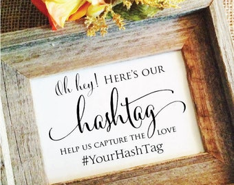 Wedding Hashtag Sign *V3 Hashtag wedding sign Rustic Wedding Sign Rustic Wedding Decor help us capture the love (Frame NOT included)