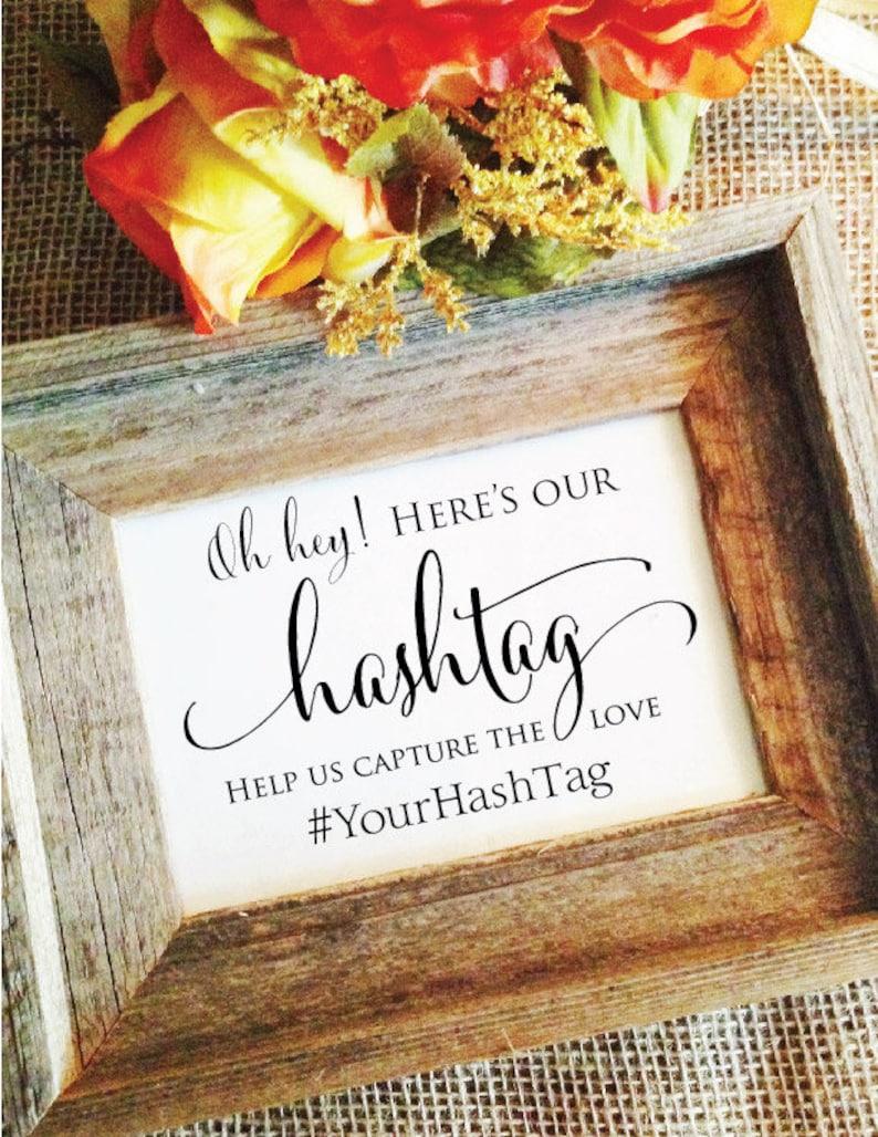 Wedding Hashtag Sign V3 Hashtag wedding sign Rustic Wedding image 0