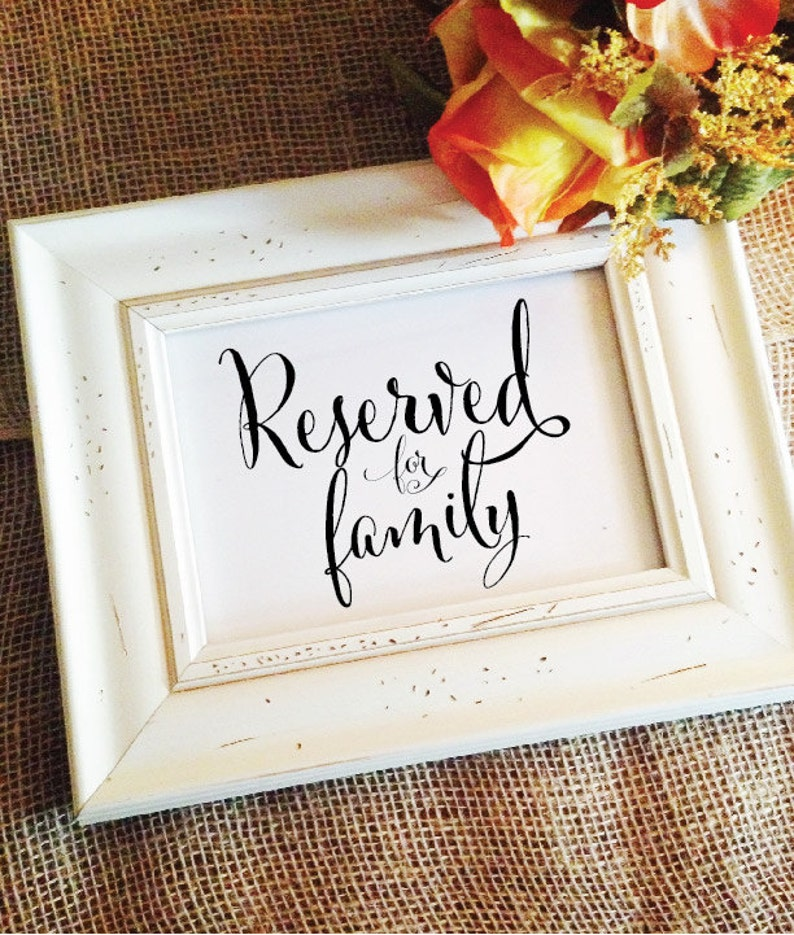 Reserved for family table sign   Reserved Sign Wedding image 1