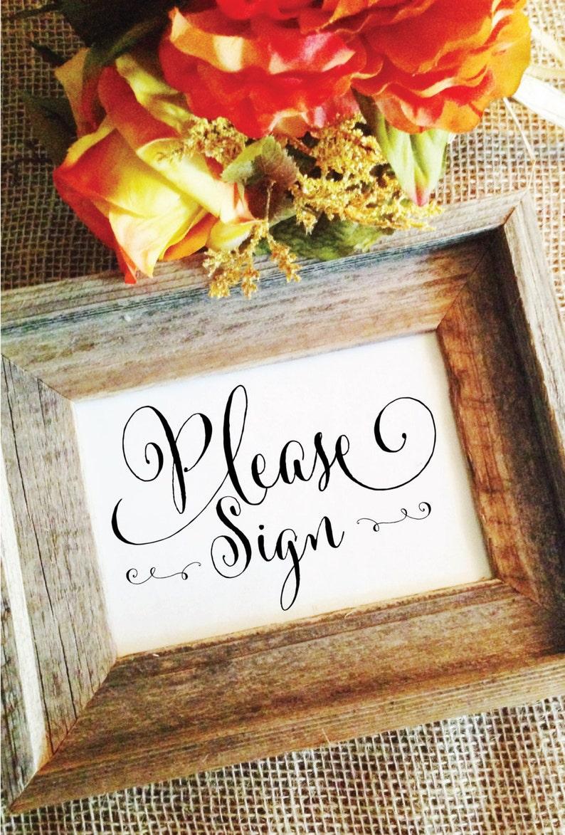 Wedding please sign wedding sign rustic wedding decor wedding image 0