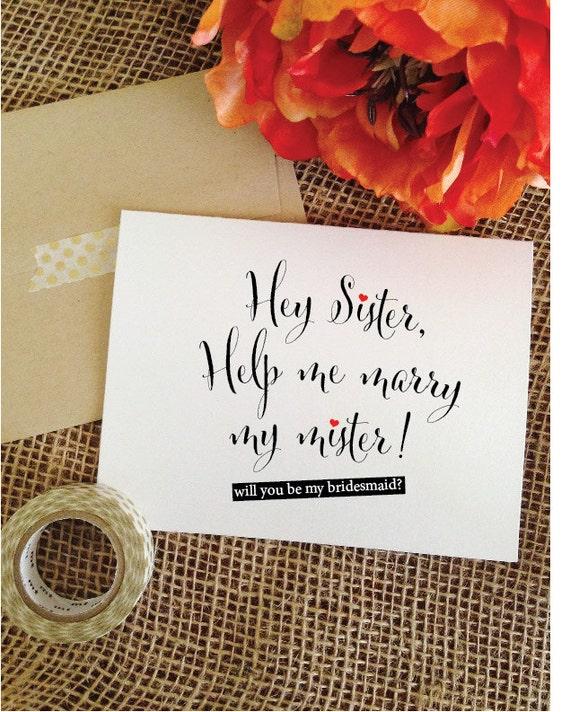 Ask Sister Bridesmaid Proposal Card  Sister Proposal Card will you be my bridesmaid card sister bridesmaid card Ask sister maid of honor