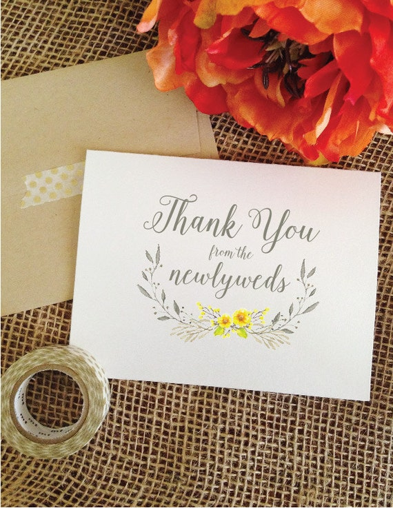Wedding Thank you Cards from the newlyweds Calligraphy Yellow and Gray Wedding
