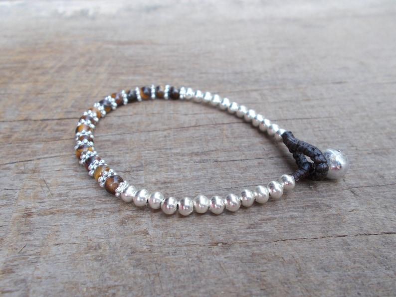 Tiger Eyes Flowers Silver Charm Woven Beads Bracelet