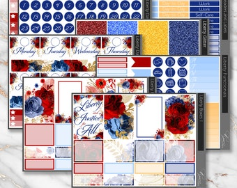 Liberty Weekly Planner Sticker Kit sized for the Happy Planner * Red, White, and Blue Functional and Decorative Stickers