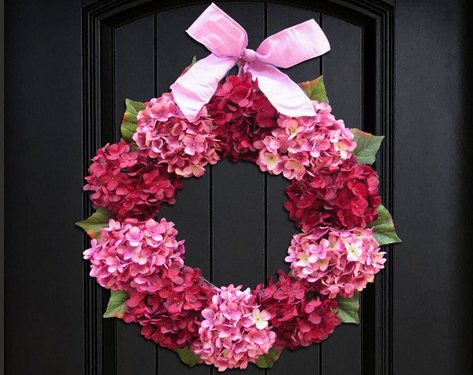 Featured listing image: Valentines Day Wreath for Front Door, Wreath for Summer, Hydrangea Wreath, Red & Pink Wreath, Spring Wreath, Small Wreath, Large Wreath