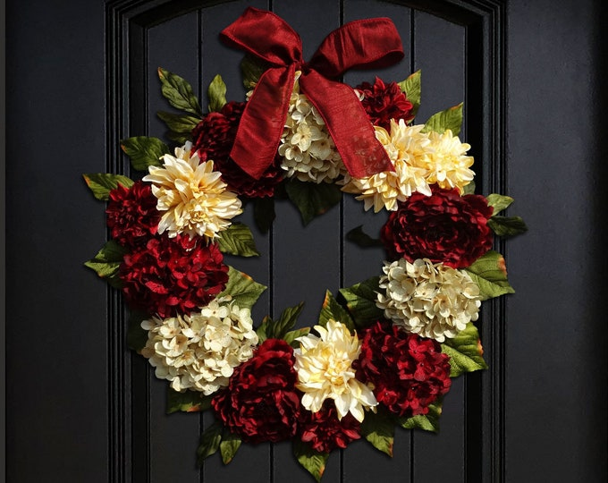 Featured listing image: Large Holiday Wreath, Christmas Wreath, Valentines Day Wreath, Front Door Wreath, Red Hydrangea Wreath, Peony Wreath, 24 Inch Wreath