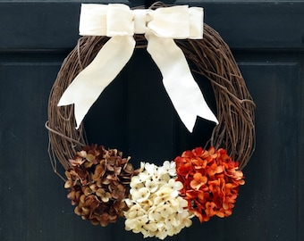 Thanksgiving Wreath, Fall Wreath, Fall Hydrangea Wreath, Fall Grapevine Wreath, Front Door Wreath for Fall, Porch Decor, Rustic Door Wreath