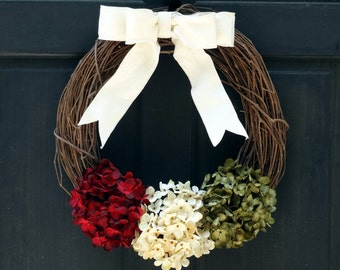 Rustic Christmas Wreath, Holiday Wreath, Christmas Grapevine Wreath, Front Door Wreath for Christmas Door Decor, Christmas Hydrangea Wreath
