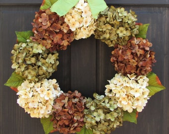 Fall Hydrangea Wreath, Front Door Wreath, Brown Cream Green Hydrangea Wreath for Fall Door Decor, Fall Porch Decor, Late Summer Wreath