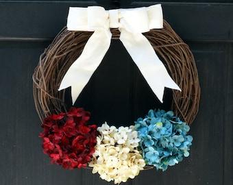 Rustic Patriotic Wreath for Front Door, Wreath with Hydrangeas, Summer Grapevine Wreath, Red White Blue Wreath, Porch Decor, Door Hanger