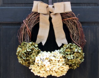 Green and Cream Artificial Hydrangea Grapevine Year Round Front Door Wreath