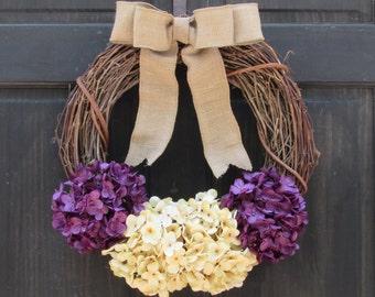 Purple Hydrangea Wreath, Rustic Spring Wreath, Summer Grapevine Wreath, Front Door Wreath, Purple Wreath, Spring Grapevine Wreath for Door