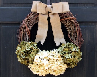 Hydrangea Wreath, Grapevine Wreath, Front Door Wreath, Year Round Wreath, Spring Wreath, Summer Wreath, Everyday Wreath for Front Door Decor