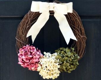 Rustic Summer Wreath, Spring Wreath, Front Door Wreath, Summer Hydrangea Wreath, Summer Grapevine Wreath, Porch Decor, Front Door Hanger