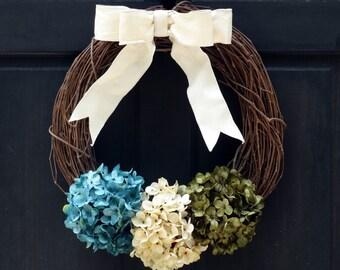 Rustic Summer Wreath, Summer Grapevine Wreath, Summer Hydrangea Wreath, Front Door Wreath, Spring Wreath, Spring Porch Decor, Door Decor