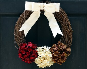 Rustic Fall Grapevine Wreath, Fall Wreath, Front Door Wreath, Fall Door Hanger, Thanksgiving Wreath, Deep Red Cream Brown Hydrangea Wreath