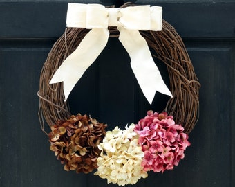 Late Summer Wreath, Brown Cream Pink Hydrangea Wreath, Front Door Wreath, Fall Grapevine Wreath, Late Summer Hydrangea Wreath for Door