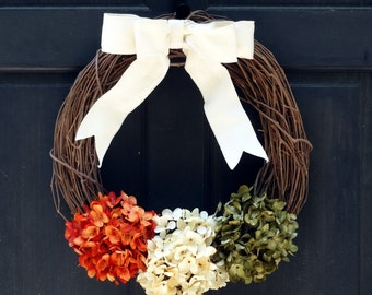 Fall Grapevine Wreath, Rustic Summer Wreath, Orange Green Hydrangea Wreath, Front Door Wreath, Fall Wreath, Summer Grapevine Wreath for Door