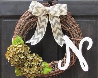 Green Wreath with Initial, Monogram Wreath, Year Round Wreath, Housewarming Gift, Initial Door Decor, Green Hydrangea Wreath for Front Door