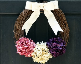 Spring Grapevine Wreath, Rustic Spring Wreath, Easter Wreath, Hydrangea Wreath, Front Door Wreath, Easter Door Hanger, Spring Door Hanger
